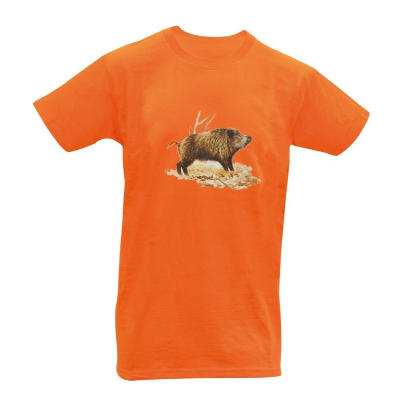 Tee Shirt Orange Sanglier